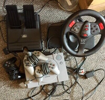 *SONY CLASSIC PlayStation 1 PS1 Console Bundle With Wheel, foot Pedals & Games*