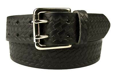 Embossed Leather Duty Belt -Two Prong Roller Buckle - Full Grain Leather UK Made