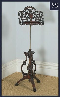 Antique English Victorian Rococo Mahogany & Brass Adjustable Music & Book Stand