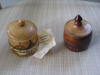 2 Small Wooden Trinket Box W/ Paper And Picture Ussr W/ Lids Jewelry Holders