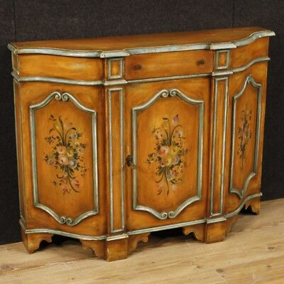 Cupboard Italian Painted Furniture Dresser 1 Panel Wood Decor Floral Style Old