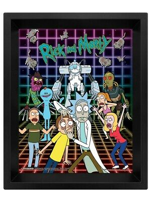 Rick and Morty Poster Characters Grid 3D Framed Lenticular 20x25cm