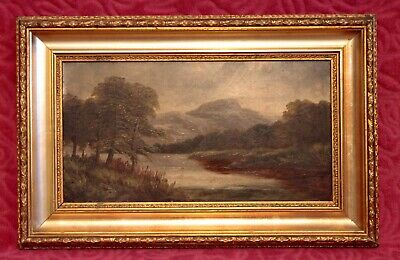 Antique 19th Century Old English School Oil on Board 'Landscape' in Gilded Frame