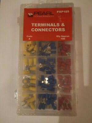 Assorted Electrical Pre-Insul Terminals And Connectors Pearl Pxp105 180 Pieces