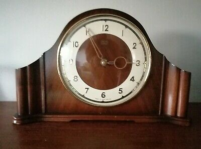 SMITHS Genuine Art Deco Wood Mantle Clock Wind- Up Fully Working