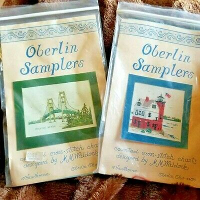 Oberlin Samplers Round Island Lighthouse & Mackinac Bridge Patterns Charts TWO