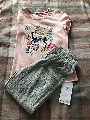 MARKS AND SPENCERS BNWT PYJAMAS SET BOTTOMS TOP AGE 6-7 Years Girls