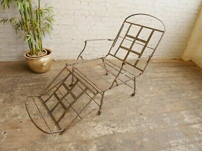 Antique Victorian Military Campaign Metamorphic Steel Armchair Daybed Bed Chair