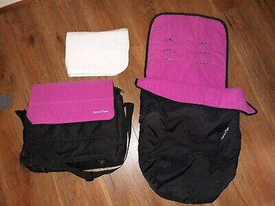 Mamas And Papas Black And Pink Cosytoes / Footmuff & Matching Changing Bag
