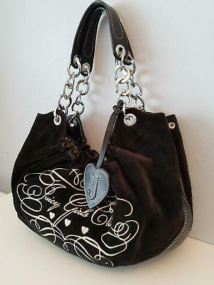 Juicy Couture Satchel Girls Club Velour Leather Chain Strap Brown