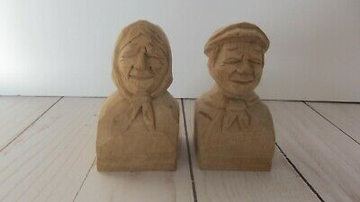 Vtg 1936  Andre Bourgault Wood Carved Folk Art Man And Woman Candle Holders