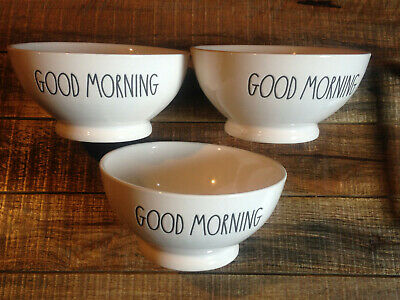 Rae Dunn  3 GOOD MORNING CEREAL BOWLS  Brand New  Fast PRIORITY Shipping!