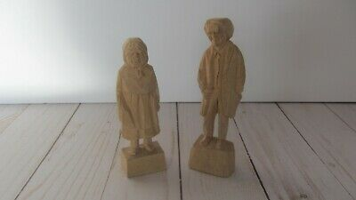 Vtg Caron Wood Carved Folk Art Old Man And Woman Couple Signed And Numbered