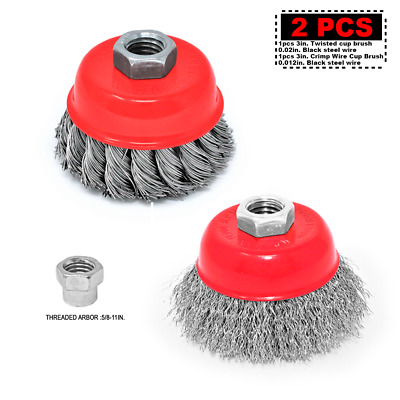 "Toolman 3"" 5/8""-11 Thread Twist Knotted + Carbon Crimped Wire Cup Brush Set"