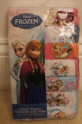 Disney FROZEN Girls Panties Size. 8 - 7 Pairs -100% Cotton BRAND NEW In Package!