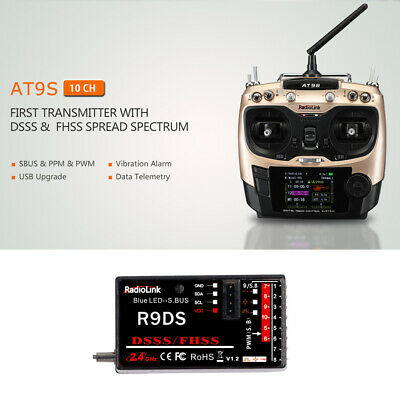 Trasmettitore RadioLink AT9S 2.4G 10CH System Mode 2 e ricevitore R9DS 10CH G6W2