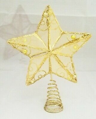 "Star Tree Topper Small Gold Filigree Wire Bead Christmas Metal 6.25"" Kurt Adler"