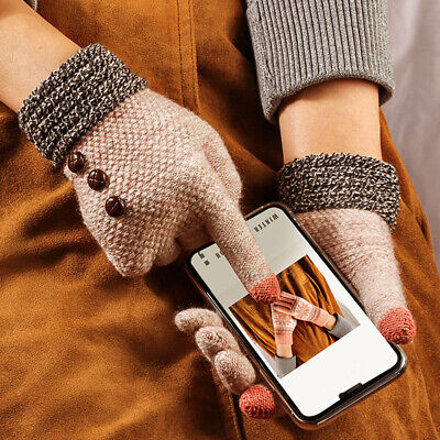 Full Finger Women Cotton Knitted Gloves Warm Mittens Touch Screen Solid Color