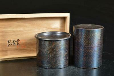 A1582: Japanese Copper WASTE-WATER POT TEA CADDY Chaire Container w/signed box