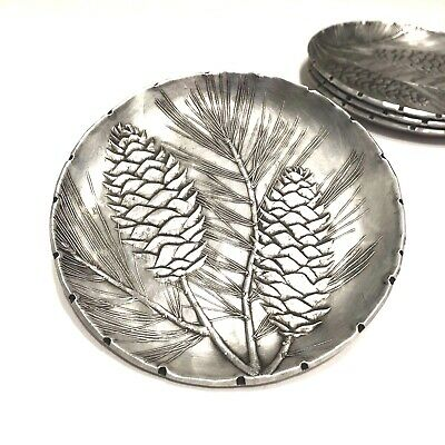 Vintage Wendell August Forge Pinecone Aluminum Coaster Set of 4  3 1/2 inch size