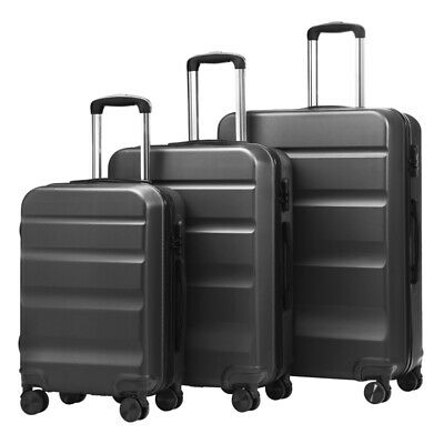 "Durable 3pcs Carry on Luggage Set ABS Spinner Travel Suitcase Black 20"" 24"" 28"""