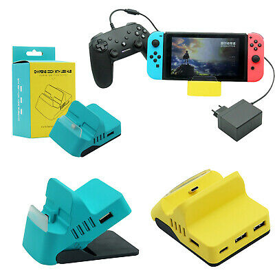 For Nintendo Switch/ Switch Lite Game Console Charging Dock Station w/ 4 USB HUB