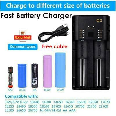 Fast Battery Charger for 18650 20700 21700 26650 18350 10500 AA/AAA Battery &USB