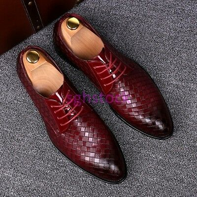 US Korean Mens Pointy toe Wing tip England style Formal Dress Wedding Shoes 2020