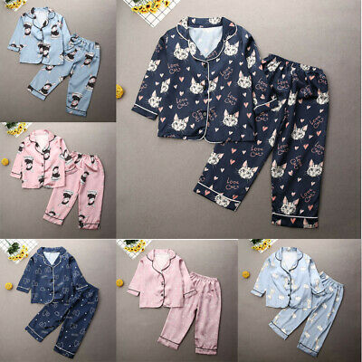 Boy Girl Silk Pajamas Pyjamas Satin Kid Child Sleepwear Nightgown/Loungewear Set