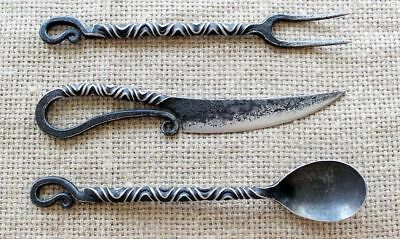 Medieval Hand Forged Cutlery Unique set of iron, A Best Gift ,LARP, Wrought iron