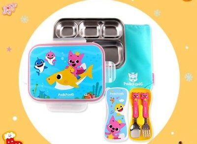 PINKFONG Spoon Fork Lunch Plate Pouch Case Set Stainless Steel for Baby Kids