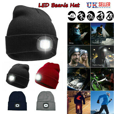 Men Women Ladies Winter Warm Knitted Beanie Hat USB LED Torch Light Camping Cap