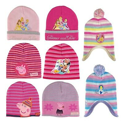 Girls Childrens Disney & Peppa Pig Winter Knitted Beanie Hat with Bobble Pom Pom