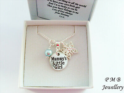 MUMMY/'S LITTLE GIRL Necklace ~ Pearl and Butterfly ~ Boxed Gift