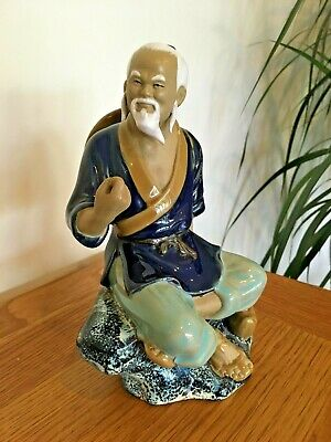 VGC! Vintage Shiwan Chinese China Mudman Figure Pottery Orient Ornament Statue