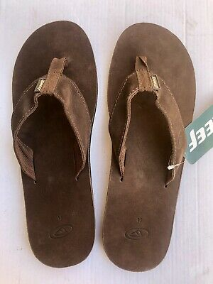 TONGS  REEF LEATHER  SMOOTHY   Brown//croco    Size 8 26 Cms Pointure 40