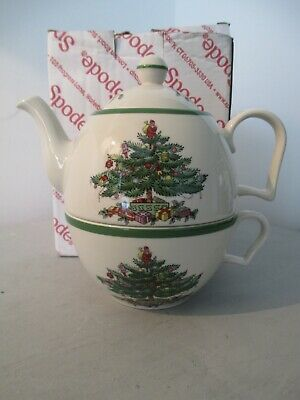 "Spode Christmas Tree - Mint & boxed teapot & cup  ""Cheer Tea for One"""