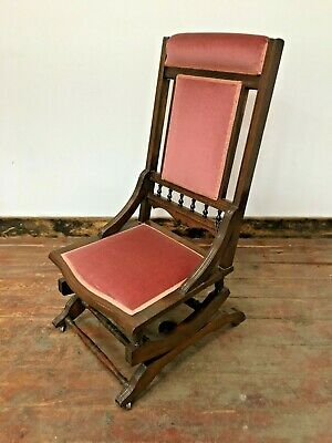 Antique Rocking Chair / Spring Mounted / Dusty Pink / Dark Wood / Low