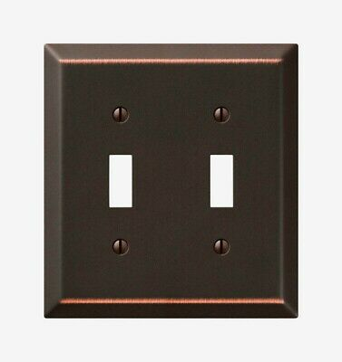Amerelle Century Aged Bronze TOGGLE WALL PLATE 2 Gang Stamped Steel 1pk 163TTDB