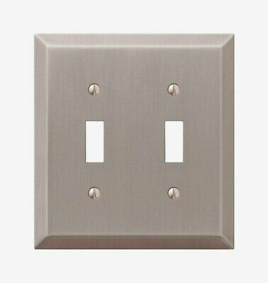Amerelle Century Brushed Nickel TOGGLE WALL PLATE 2 Gang Stamped Steel 163TTBN