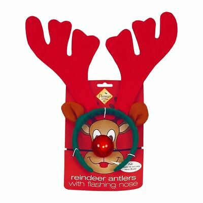 2x Rudolf The Reindeer Antlers with Flashing Nose Christmas Party With Battery