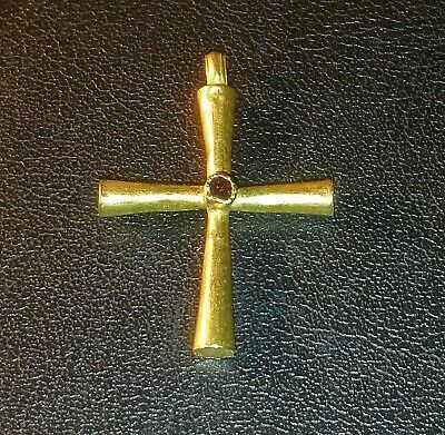 Ancient Byzantine 22-24K gold Cross with Garnet