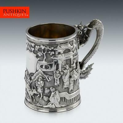 ANTIQUE 19thC CHINESE EXPORT SOLID SILVER DRAGON MUG, LUEN WO c.1890