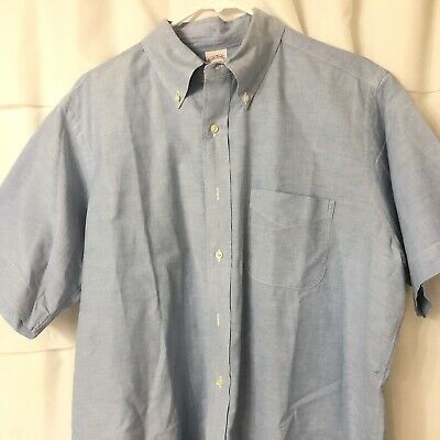 Brooks Brothers Makers Dress Shirt Short Sleeve Size 16.5 Solid Blue Mens