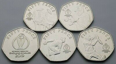 2019 Isle of Man ICC Cricket World Cup Set of 50p coins - Circulated