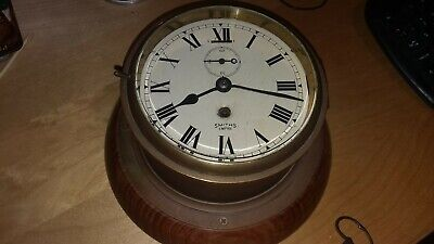 Antique Authentic Brass Smiths Empire Ships Clock With Key Mounted Walnut Base