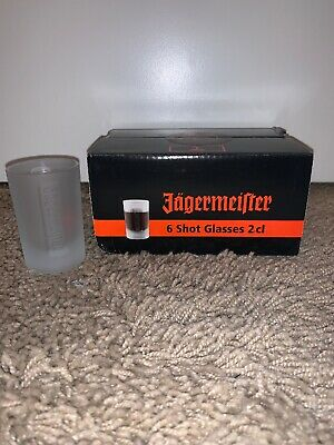 Jagermeister Set of 6 Shot Glasses Germany Frosted Glass NIB Jager