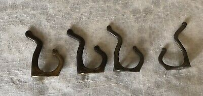 Vintage- 3 Brass Plated Double Hook Wall Hooks + 1 Brass Double  Wall Hook