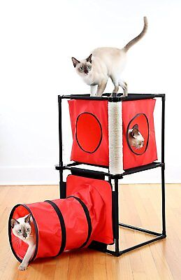 Kitty Condo with Tunnel & Scratching Post - Cat Playing Tunnel & Scratching Post