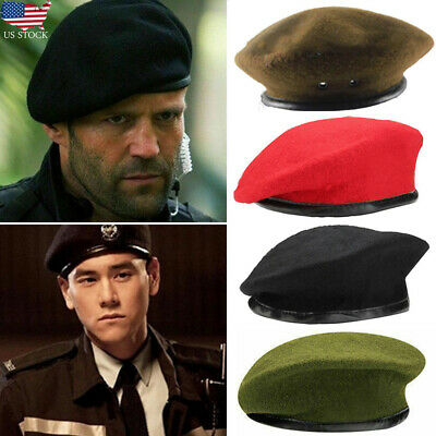 US Mens Women Military Army Cap Soldier Wool French Beret Beanie Uniform Hat Lot